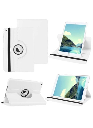 Apple Apple İpad 7.Nesil 10.2 İnc 2019 A2197 A2198 Dönen Tablet Kılıfı Beyaz